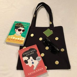 Kate Spade Black Scatter Dot Canvas Tote - A+ GIFT